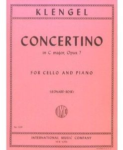 Klengel Julius Concertino No1 in C Major Op. 7 Cello Piano - by Leonard Rose - International Music